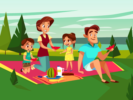Vector cartoon caucasian family at outdoor picnic party at weekend. Cheerful adult couple - mother and father, boy and girl kids together eating watermelon sitting at cover on green grass at park.