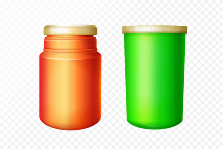 Vector red and green medical bottles set on transparent background. 3d containers for pharmaceutical drugs, pills and supplements. Realistic healthcare medications packaging template.