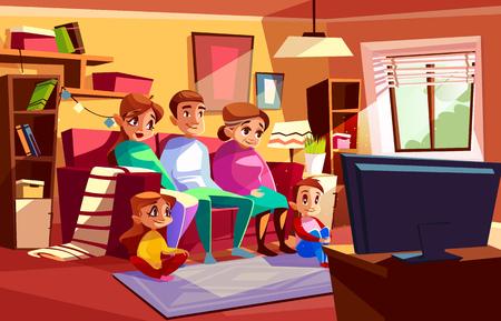 Familie samen tv kijken vectorillustratie van ouders en kinderen zittend op de bank of stoel in de woonkamer. Cartoon moeder, vader en grootmoeder met jongen en meisjes kinderen in platte televisie kijken