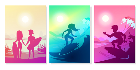 Surfers at ocean vector illustration of boy and girl couple with boards at Hawaii beach. Silhouette of man and woman holding by hands on summer surfing at blue and ultraviolet sun background  イラスト・ベクター素材