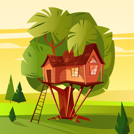Tree house vector illustration of wooden hut with ladder and windows in forest. Cartoon woodland cabin or hovel for summer kids treehouse or nature bungalow hotel