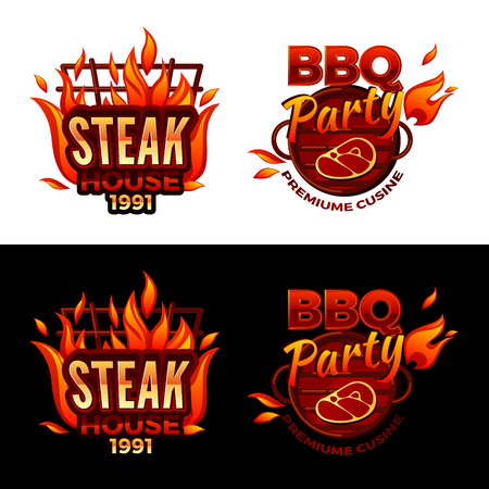 Steak house vector illustration for barbecue party logo or premium meat cuisine design. Vector isolated icons of beefsteak on BBQ grill with burning fire flame for gourmet restaurant menu Illustration