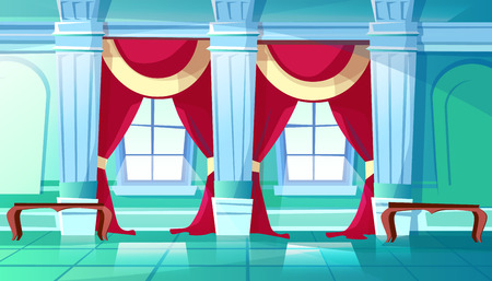 Ballroom of palace hall vector illustration of medieval castle interior of royal dancing room. Flat cartoon background with marble pillars, red drape curtains on windows and benches Иллюстрация