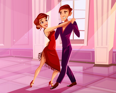 Couple dancing in ballroom vector illustration of tango dancer. Man and woman in red dress at Latin American dance contest or show in royal palace hall with marble pillars on cartoon background Иллюстрация