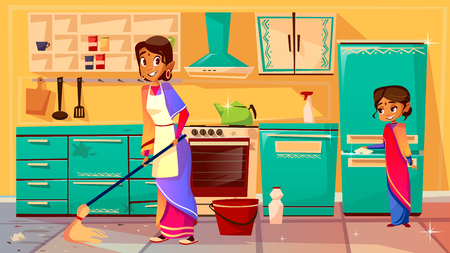 Housewife cleaning kitchen vector illustration of Indian mother in sari mopping floor and daughter helps clean refrigerator. Flat cartoon of family from India together cleaning kitchen furniture, cupboard and stove Illustration