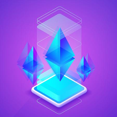 Ethereum cryptocurrency vector illustration of blockchain platform for Ether mining farm. Digital crypto currency tehcnology concept on purple ultraviolet background