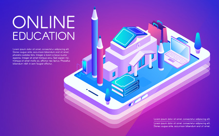 Online education vector illustration of remote study of university or college internet courses. Study technology of isometric school books in computer or smartphone on purple ultraviolet background