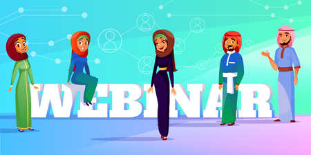 Muslim webinar vector illustration of web conference or seminar speakers. Saudi Arabian man and woman in khaliji and hijab for business interview presentation on infographic background