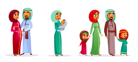 Vector cartoon arab family characters set. Happy saudi, emirates muslim couple, man, woman, father and mother holding infant baby, teen boy, girl children. People in national clothing, hijab