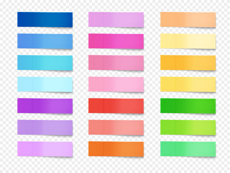 Sticky notes vector illustration of paper memo of different colors. Isolated realistic horizontal stickers of office reminders or bookmarks with shadows on transparent background Illustration