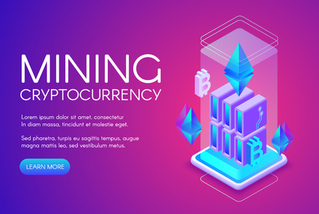Cryptocurrency mining vector illustration of blockchain farm for bitcoin on ethereum server platform. Digital crypto currency or internet business technology on purple ultraviolet background