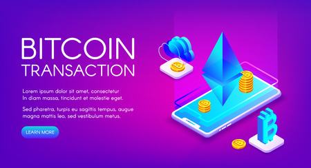 Bitcoin transaction vector illustration of cryptocurrency trade and exchange on smartphone ethereum platform. Crypto currency business and bit coin payment technology on purple ultraviolet background