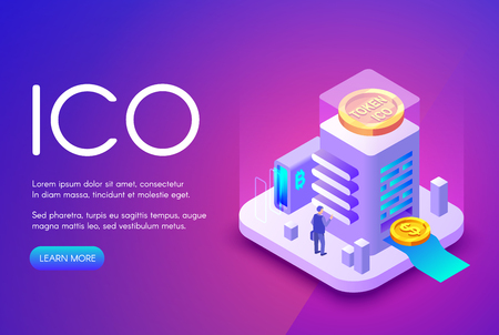 ICO cryptocurrency vector illustration of bitcoin and tokens for crowdfunding investment and business startup. Crypto currency and bit coin commerce technology on purple ultraviolet background Ilustracja