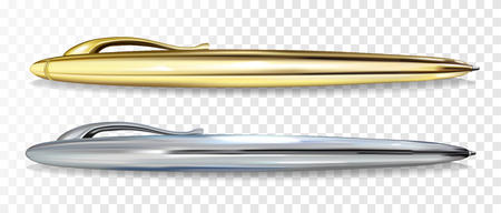 Ballpoint pen vector illustration of 3D realistic golden and silver mockup models with clipper for premium writing pens stationery and branding design template Illustration