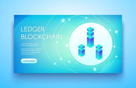 Ledger blockchain vector illustration for cryptocurrency or ICO and API technology. Digital communication server for bit coin crypto currency mining farm and platform on blue background Illustration