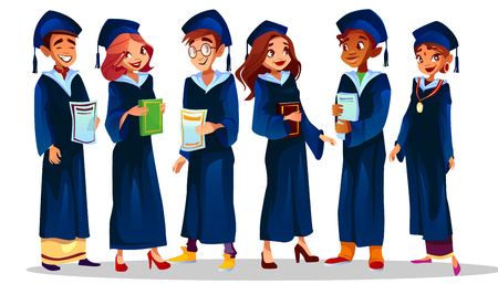 College or university graduates vector illustration of students in blue graduation gown and caps. School students of Afro American boy and Indian girl happy with education diploma or award medal