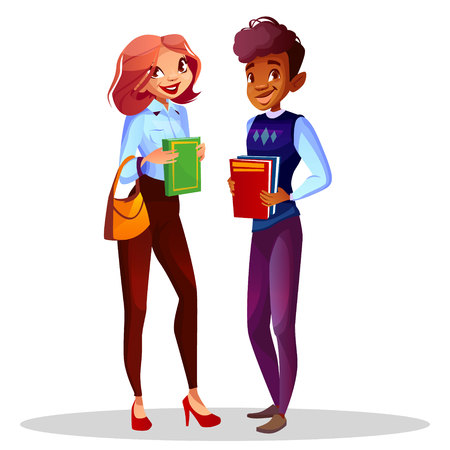College or university students vector illustration of teen girl with school bag and black Afro American boy in casual clothes with study books for different nationalities education.