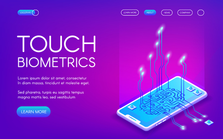 Touch biometrics technology vector illustration of digital fingerprint recognition for personal identity. Smartphone touchscreen sensors for private data encryption on purple ultraviolet background