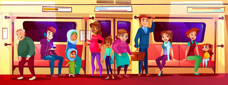 Subway people social issue vector illustration of overcrowded train. Young boy and teen girl sitting, not giving place to pregnant and old woman going from work in metro