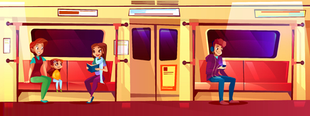 People in subway train vector illustration. Young woman with daughter girl in metro reading book and smile, teen boy sitting on seat and listening music in earphones from smartphone Ilustração