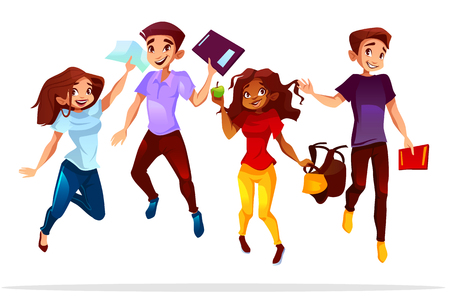 College or university students vector illustration of school boys and black Afro American girls jumping up happy smiling with books and bags for lesson break or graduation.