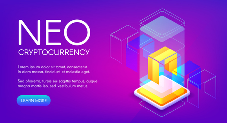 NEO cryptocurrency vector illustration for peer-to-peer blockchain platform and mining farm technology. Isometric digital crypto currency of NEO bit coin or token sign on purple ultraviolet background