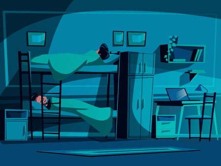 College dormitory vector illustration of classmates sleeping on bunk bed at night. University student hostel interior background with furniture, computer laptop on table, bookshelf and chair