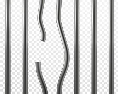 Vektor 3d realistische gebrochene Gefängnisgitter isoliert auf transparentem Hintergrund. Konzept der Gefängnispause. Metallischer Edelstahlkäfig. Geschlossenes Gitter der Zelle Vektorgrafik