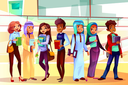 College or university students vector illustration of classmates of different nationalities in class room. Caucasian or Saudi Arabian and Asian girl, black Afro American boy with school bags and books
