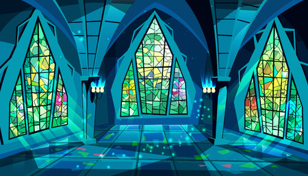 Ballroom or palace vector illustration of royal gothic hall at night with stained glass windows and moon light reflection on floor. Cartoon ball room or king apartment and museum interior background 스톡 콘텐츠