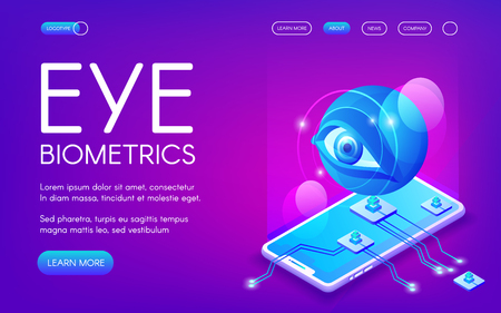 Eye biometrics technology vector illustration for personal identity authentication. Smartphone camera and retina or iris digital scanner for private data encryption on purple ultraviolet background