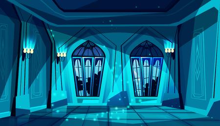 Salón de baile del castillo gótico oscuro de vector con vidriera. Salón de baile, presentación o recepción real. Gran sala con lámparas de noche, columnas en lujoso palacio medieval. Fondo del juego