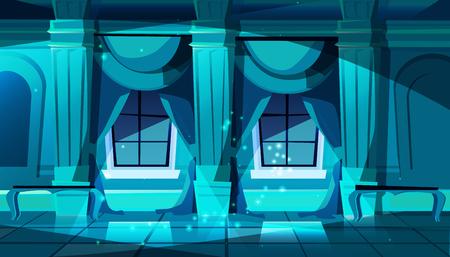 Ballsaal des dunklen Schlosses des Vektors mit Fenstern. Saal zum Tanzen, Präsentieren oder königlichen Empfang. Großer Raum mit Bänken in der Nacht, Säulen und Fenstern im luxuriösen mittelalterlichen Palast. Spielhintergrund