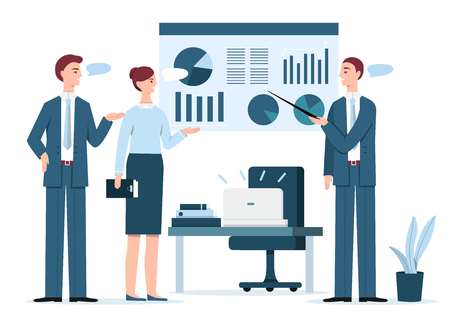 Business presentation vector illustration. Manager man presenting marketing report, project statistics in diagrams on infographics screen to director or client woman in office with speech chat bubbles