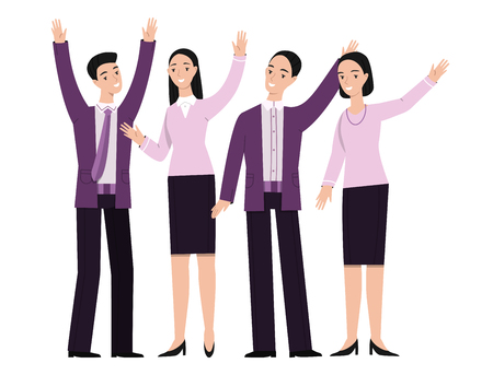 Business people gesturing vector illustration. Man manager and woman office worker speakers with hand gestures for attention, explaining or direction pointing for discussion or presentation