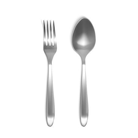 Spoon and fork 3D vector illustration. Isolated realistic set of silver or metal tableware on white background