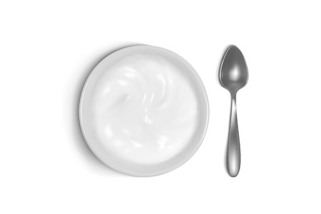 Spoon and plate 3D vector illustration of porridge, yogurt or sour cream for breakfast. Isolated realistic set of silver or metal tableware and porcelain or ceramic dish on white background