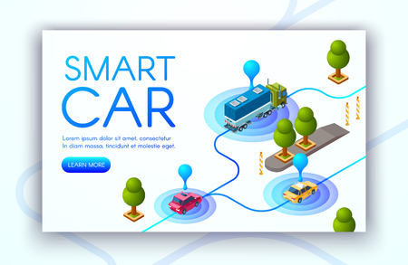 Smart car technology vector illustration of vehicle location tracking or GPS radars. Transport navigation and traffic control system for cargo trucks and carsharing taxi in city road
