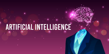 Artificial intelligence vector illustration of human brain in suit and digital mind. Future innovation technology of android robot head and neuron network on ultraviolet background