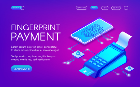 Fingerprint payment vector illustration of secure payment technology with personal authentication. Smartphone and credit card POS terminal for purchase transaction on purple ultraviolet background Ilustracje wektorowe