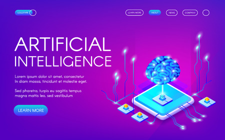 Artificial intelligence vector illustration of human brain with digital neurons chipset. Cyborg mind control and computer network future innovation on ultraviolet background