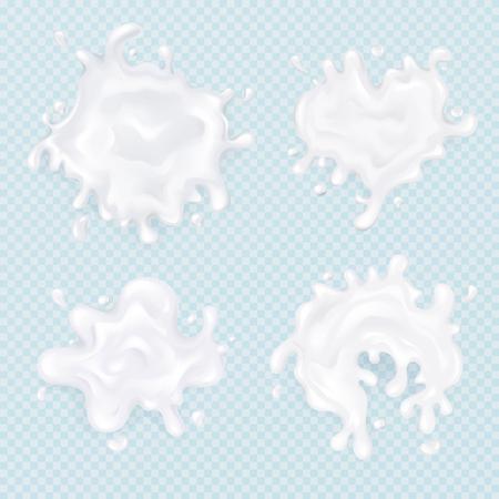 Milk splash blots 3D vector illustration of realistic 3D milky drops texture or yogurt drink drips on transparent background Illustration