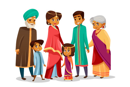 cartoon Indian family characters set. Happy hindu senior man, woman, parents father and mother, teen boy, girl children together holding hands. People in national clothing sari headdress turban