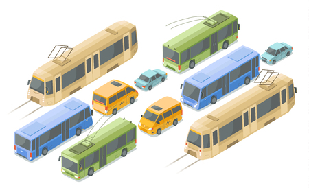 Isometric public passenger transport illustration. Flat isolated isometric icons of modern urban bus or trolleybus and tram, private car or city taxi