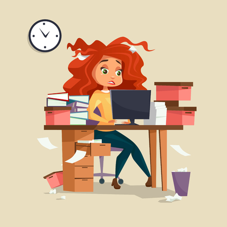 Woman in office stress illustration of cartoon girl manager working on computer with disheveled messy hair and documents piles. Overwork and deadline office work concept Stock Photo