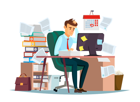 Man overwork in office, deadline illustration. Manager sitting at computer desk with stack of documents in mess and deadline tasks sticky notes holding hand on head flat cartoon office design