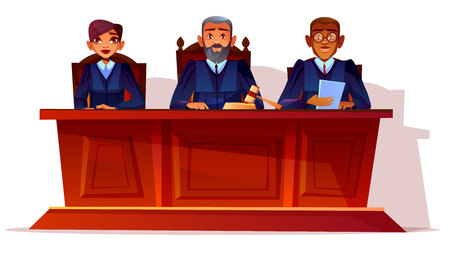 Judges at court hearing vector illustration. Prosecutor and legal secretary woman or assessor and black Afro American advocate in glasses sitting at table in blue court dress with gavel and documents Imagens