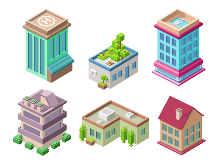 Isometric residential buildings and city houses illustration 3d architecture objects for construction design. Residential building, office or hotel residence towers isolated isometric icons set