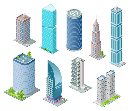 Isometric 3D buildings and city skyscrapers illustration for architecture construction design. Residential building, office or hotel residence towers with helicopter heliport on rooftop