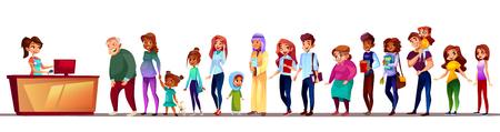 Gente esperando en la ilustración de vector de cola. Multitud de larga fila de pie en el mostrador de registro con la paciencia de la anciana de Arabia Saudita y Asia, la niña embarazada o el hombre afroamericano negro con niño